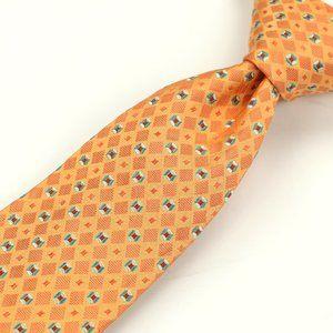 Kiton Napoli 7 Fold Silk Neck Tie Orange/Green